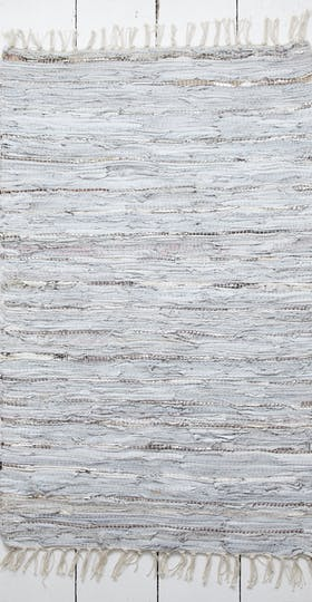 Silver Leather Rag Rug