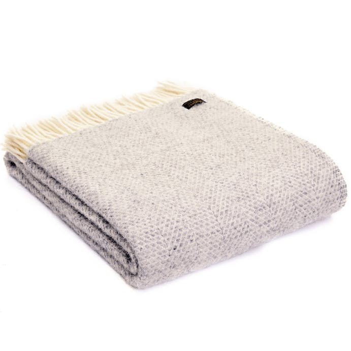 Pure New Wool Throw Grey Beehive by Tweedmill