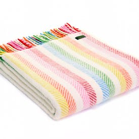 Pure New Wool Throw Rainbow Stripe