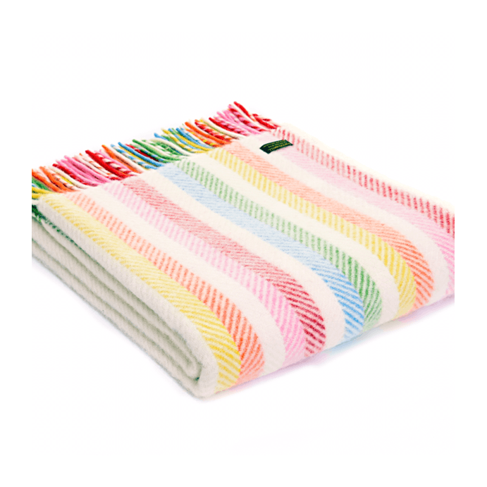 Pure New Wool Throw Rainbow Stripe by Tweedmill