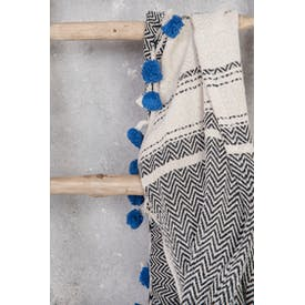 Fairtrade Cotton Throw in Black Weave with Indigo Pom Poms