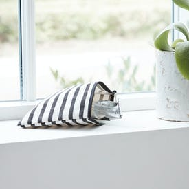 Black & White Striped Makeup Bag by House Doctor