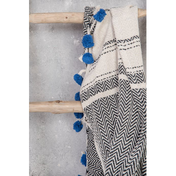 Black and Navy Cotton Throw by Ian Snow