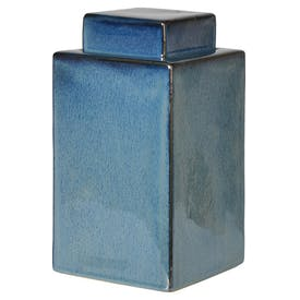 Sea Blue Square Jar with Lid
