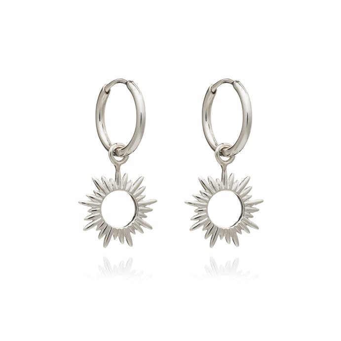 Eternal Sun Mini Hoop Earrings in Silver by Rachel Jackson