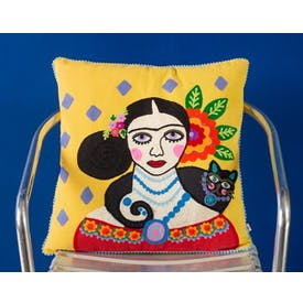 Yellow Frida Kahlo Cushion with Black Cat