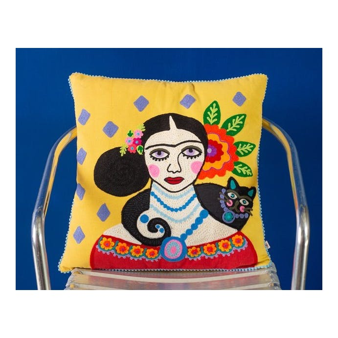 Frida Kahlo Yellow Cushion