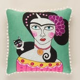 Frida Kahlo Cushion with Black Cat