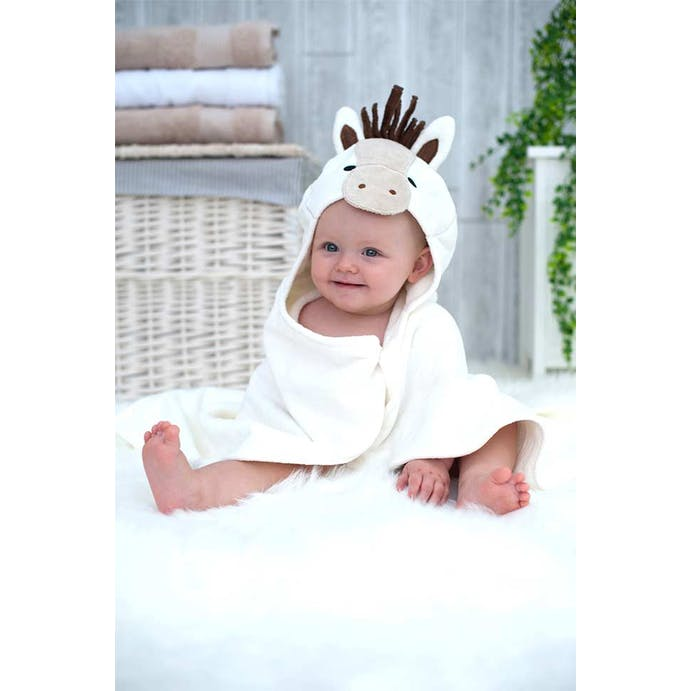 Popcorn Ponyr hooded baby towel by bathing bunnies