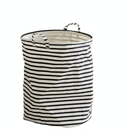 Black & White Striped Fabric Laundry Bin by House Doctor