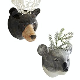 Animal Head Wall Vase by Quail Ceramics