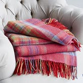 Cashmere merino red check throw