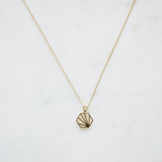 Gold Hexagon Necklace by Rachel Jackson