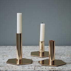 Set of Three Gold Hexagon Candlesticks by Hubsch