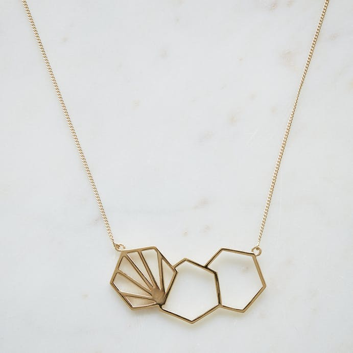 Triple Hexagon Gold Necklace by Rachel Jackson
