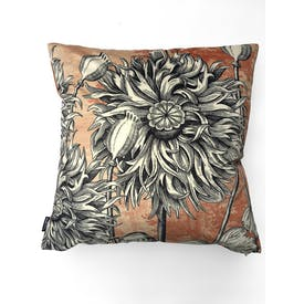 Velvet Coral Poppy Cushion 50x50cm