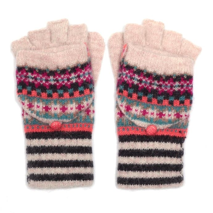 Fair Isle Fingerless Mittens in Pink by Pure Fashions