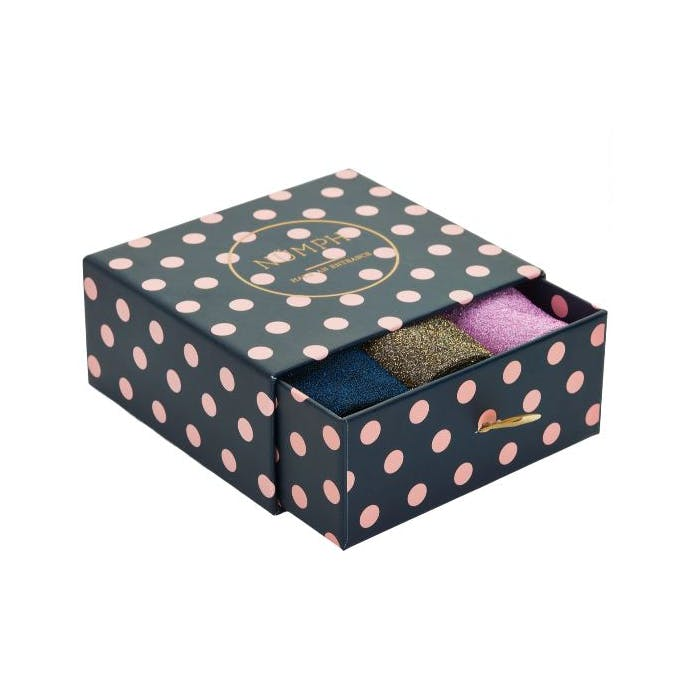 Kingcity boxset of Glitter Socks in Pink, Navy and Gold By Numph