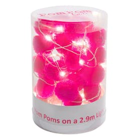 Pom Pom LED Light String Pink by Pom Pom Galore
