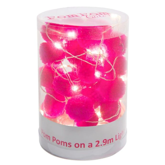 Pom Pom LED Light String Pink