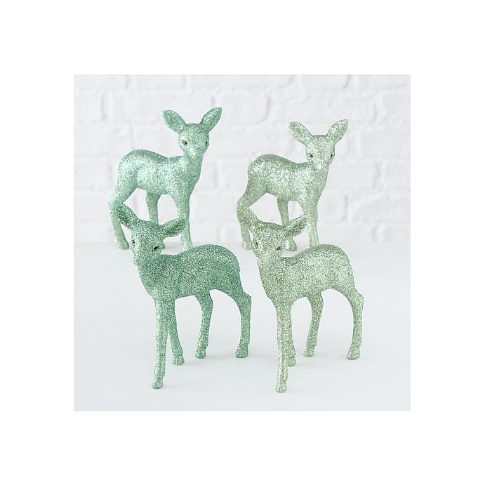 2 Glitter Green Deer Decorations