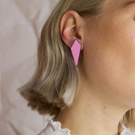 Womens Stud Shard earrings in pink by Wolf and Moon