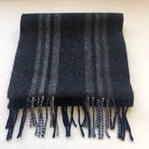 Grey Stripe Wool & Cashmere Blend Scarf by John Hanly