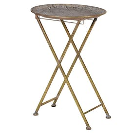 Gold Fretwork Folding Side Table