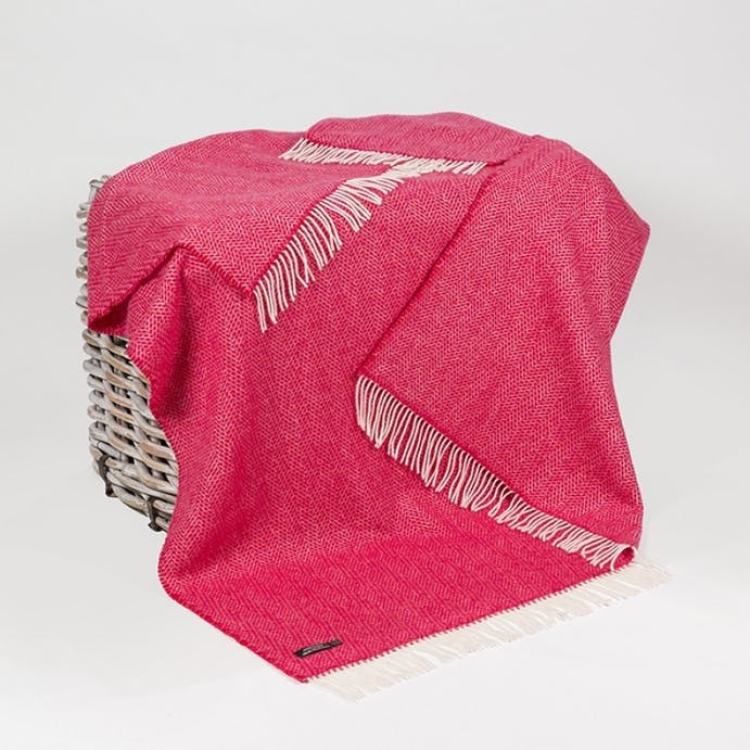 Pink & Red Zig Zag Merino & Cashmere Throw