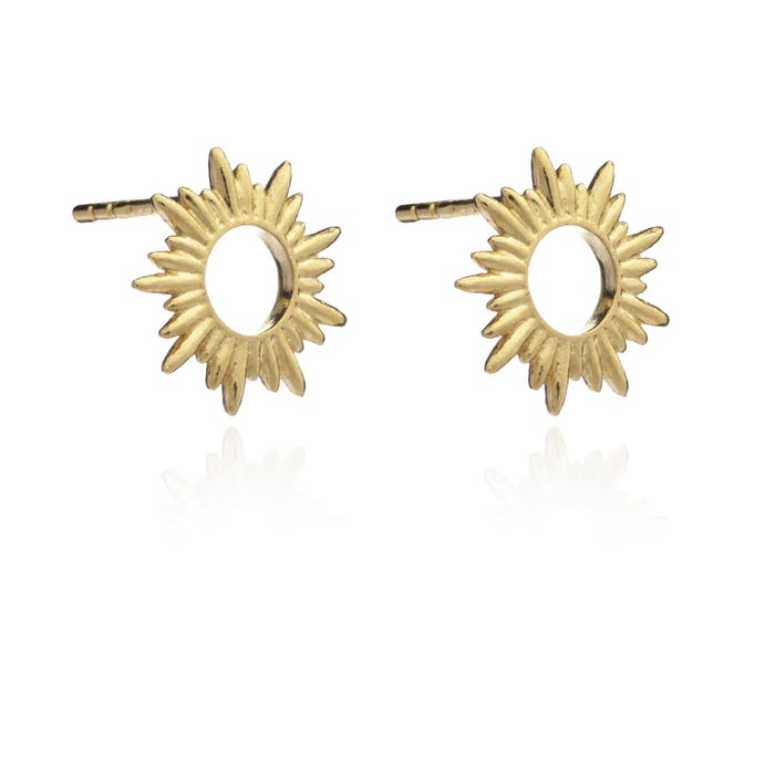 Sunray Gold Stud Earrings by Rachel Jackson