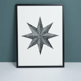 Framed Monochrome Star Print