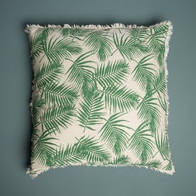 Tropical Print Cushion with fringed edging