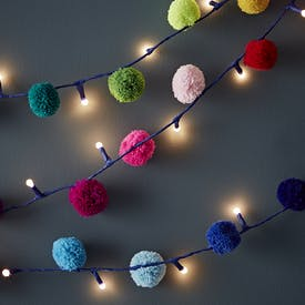 Multi-Coloured Pom Pom Light Up Garland