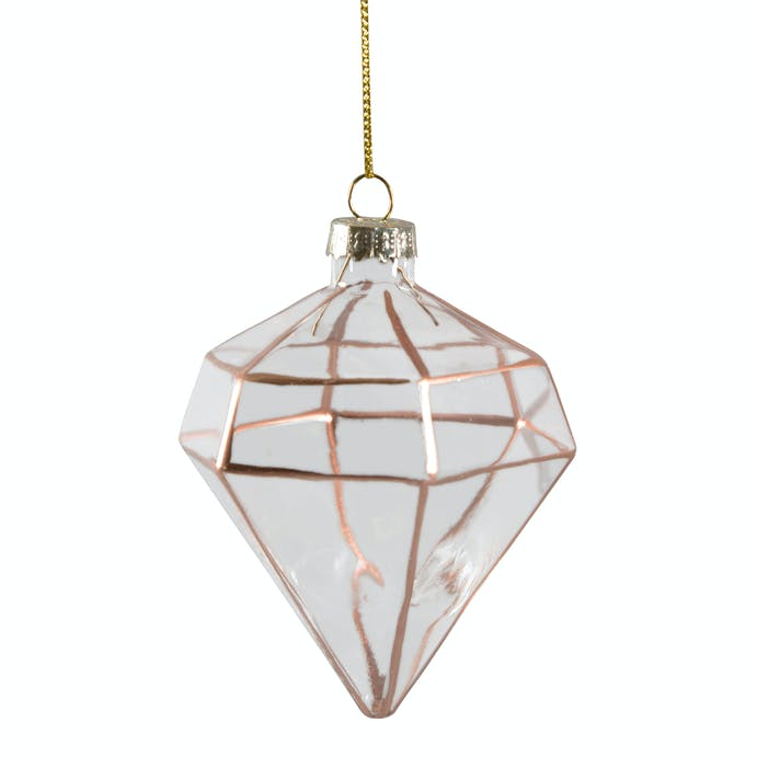 Diamond with copper glass Christmas decoration