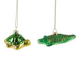 Crocodile and Tortoise Christmas Baubles