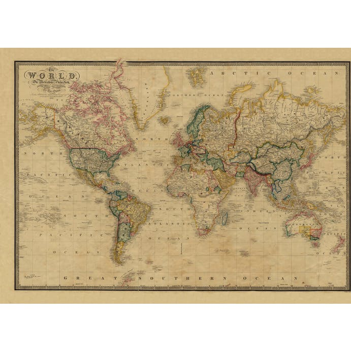Old Folding Map World Map